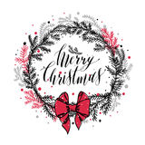 Hand drawn new years wreath with red bow. And calligraphic text Merry Christmas vector illustration