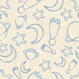 Hand-drawn night sky seamless pattern Stock Images