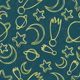 Hand-drawn night sky seamless pattern Stock Photography