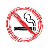 Hand drawn no smoking sign Royalty Free Stock Images
