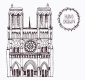 Hand drawn Notre Dame de Paris, France Royalty Free Stock Image