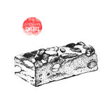 Hand drawn nougat with nuts Stock Photos