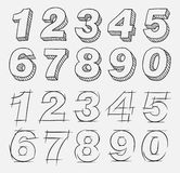 Hand drawn numbers. A hand drawn numbers set Stock Illustration
