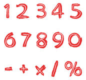Hand drawn numbers. Hand drawn red numbers set Stock Photos