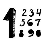Hand drawn numbers Royalty Free Stock Photos