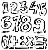 Hand drawn numbers, doodles Royalty Free Stock Photography