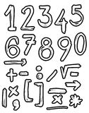 Hand drawn numbers, doodles Royalty Free Stock Image