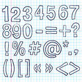 Hand-drawn Numbers. Doodles Sketch Stock Photography