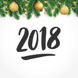 2018 hand drawn numbers. Fiesta border with fir tree branches and baubles. 2018 hand drawn numbers. Winter holiday background. Fiesta border with fir tree Royalty Free Stock Image