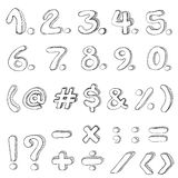 Hand drawn numbers Isolated on white background. Numbers and symbols royalty free illustration