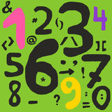 Hand drawn numbers and math symbols Royalty Free Stock Image