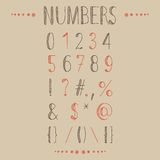Hand drawn numbers with most common keystrokes, question marks, points, commas, brackets, stars, etc. Easy to use and edit numerals and other signs Stock Photos