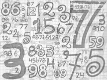 Hand drawn numbers paper grid background Royalty Free Stock Images