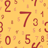Hand-drawn numbers seamless pattern, simple background. Vector illustration Stock Photo