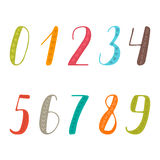 Hand drawn numbers set. Collection of colorful numbers Royalty Free Stock Images