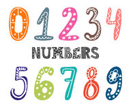 Hand drawn numbers set. Collection of cute colorful numbers Royalty Free Stock Photos