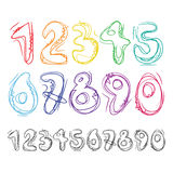 Hand drawn numbers Stock Images