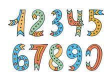 Hand-drawn numbers set on white background. Collection of cute colorful numbers. Vector illustration for web, site, design, art, banner, poster, print and etc Vector Illustration