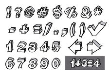 Hand-drawn numbers and symbols Royalty Free Stock Photo