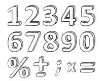 Hand Drawn Numbers, Vector Illustration Stock Photography
