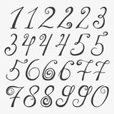 Hand drawn numbers. Vector sketch illustration isolated on white background. Made in Stock Illustration