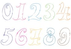Hand drawn numbers Royalty Free Stock Photography