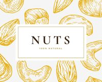 Hand Drawn Nuts Card. Abstract Vector Cashew, Hazelnuts and Almond Sketch Background with Classy Retro Typography. Isolated vector illustration