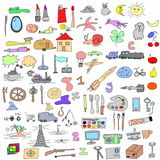 Hand drawn objects doodles Stock Image