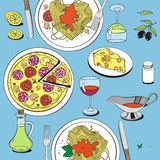 Hand drawn objects on italian food theme: pizza, pasta, tomato, Stock Photography
