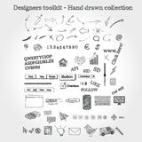 Hand drawn objects. A set of hand drawn objects Stock Photo