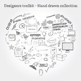 Hand drawn objects Stock Photography
