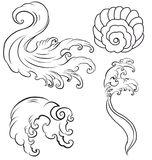 Japanese wave for tattoo. Hand drawn isolate on white background.  Stock Image