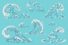 Hand drawn ocean wave. Vintage cartoon storm waves, tide water splash isolated elements. Vector swirl tsunami set royalty free illustration