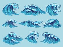 Hand drawn ocean waves. Sketch sea tidal blue waves tide splash hand drawn surfing storm wavy water doodle vintage set. Hand drawn ocean waves. Sketch sea tidal stock illustration