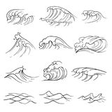 Hand drawn ocean waves vector set. Sea storm wave isolated. Nature wave water storm linear style illustration Royalty Free Stock Photography