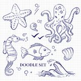 Hand drawn ocean wild animals on notebook page. Hand drawn sketch ocean wild animals on notebook page. Vector illustration Stock Photo