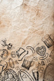 Hand drawn Octoberfest symbols on old rumpled paper background Stock Photos