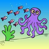 Hand drawn octopus illustration Stock Photography
