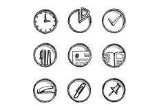 Hand Drawn Office Icon Set . Vector Illustration. Royalty Free Stock Image