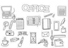 Hand drawn office set. Coloring book template. Outline doodle. Elements vector illustration. Kids game page vector illustration