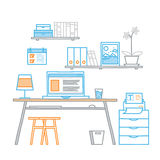 Hand drawn office workspace minimalistic linear Royalty Free Stock Image