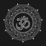 Hand drawn Ohm symbol, indian Diwali spiritual sign Om elegant r. Ound Indian Mandala with high details on black background, illustration in zentangle style Vector Illustration