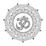 Hand drawn Ohm symbol, indian Diwali spiritual sign. Om elegant round Indian Mandala with high details isolated on white background, illustration in zentangle vector illustration
