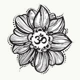 Hand drawn Ohm symbol, indian Diwali spiritual sign Om. Lotus flower around. High detailed decorative vector illustration. Tattoo, yoga, spirituality, textiles royalty free illustration
