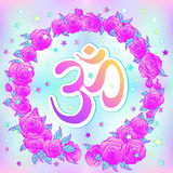 Hand drawn Ohm symbol, Indian Diwali spiritual sign Om over colo Royalty Free Stock Photos