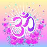 Hand drawn Ohm symbol, Indian Diwali spiritual sign Om over colo Royalty Free Stock Photography