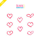 Hand drawn oil pastel hearts Royalty Free Stock Images