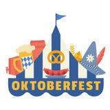 Hand drawn Oktoberfest flat color vector icon. Oktoberfest fair event celebration design element. Bavarian beer festival. Traditional beer mug, pretzel vector illustration