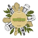 Hand drawn Oktoberfest pub poster. Ginger ale beer. Vector glass, bottle, ginger root, sliced, flower and leaves. Bar. Alcohol beverages. Craft brewery Discount royalty free illustration