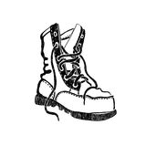 Hand drawn old boot. Royalty Free Stock Images